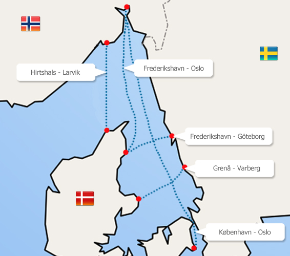 Færgeruter: Danmark-Sverige-Norge